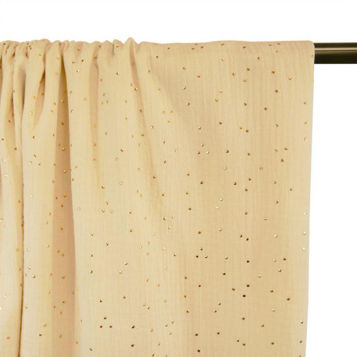 Tissu double gaze pois dorés - écru x 10cm