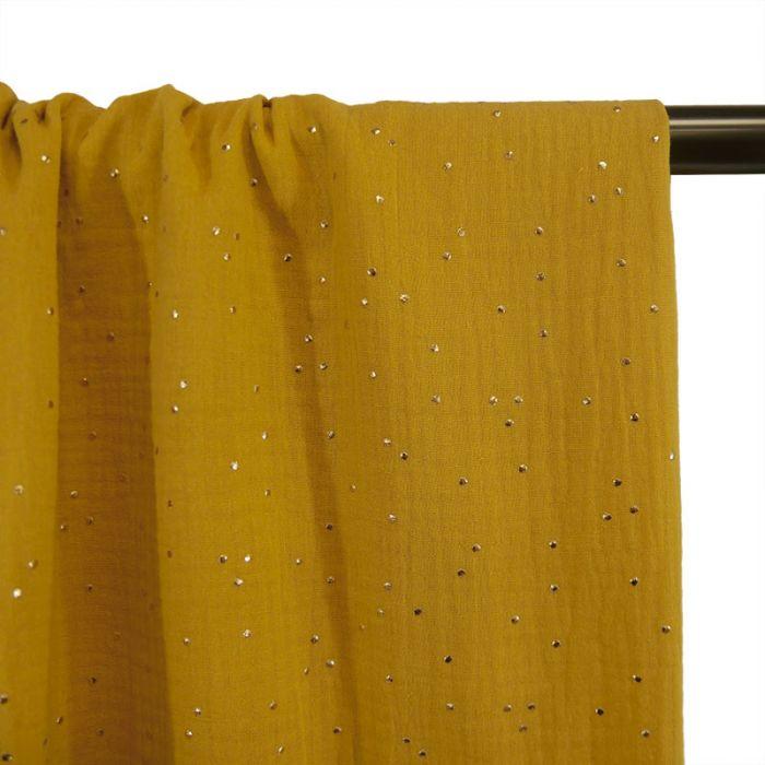 Tissu double gaze pois dorés - moutarde x 10cm