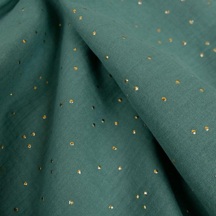 Tissu double gaze pois dorés - Eucalyptus x 10cm