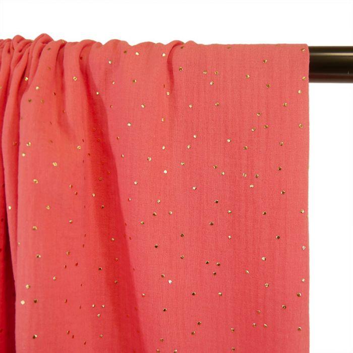 Tissu double gaze pois dorés - corail x 10cm