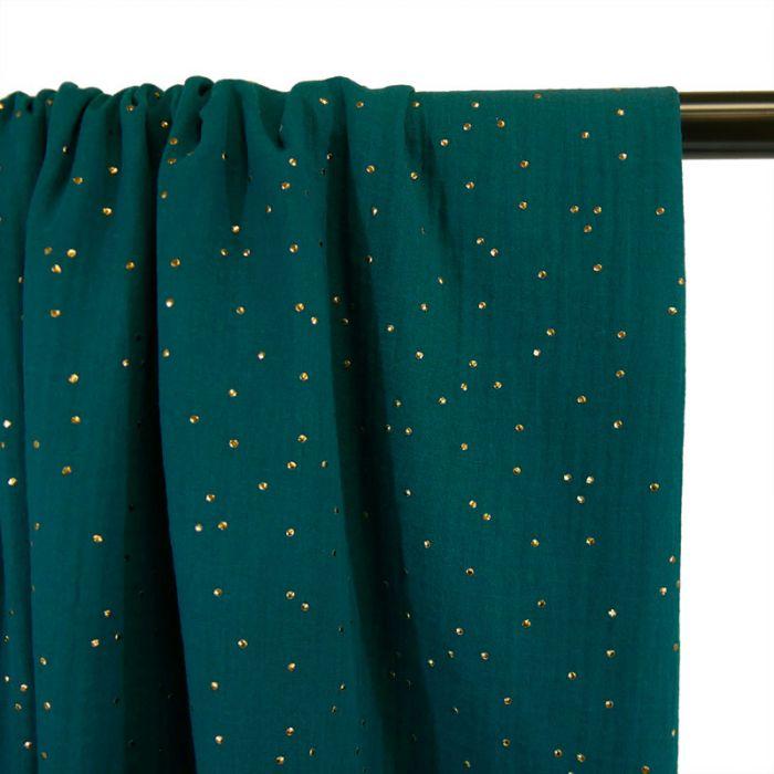 Tissu double gaze pois dorés - canard x 10cm