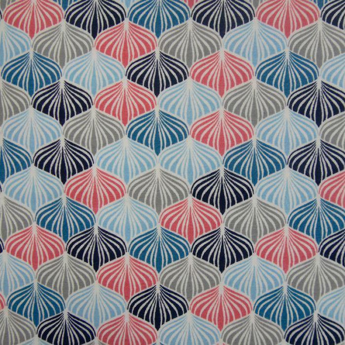 Tissu jersey coton oeko-tex lotus - bleu x 10 cm