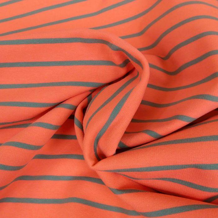 Tissu jersey marinière rose gris x 10 cm