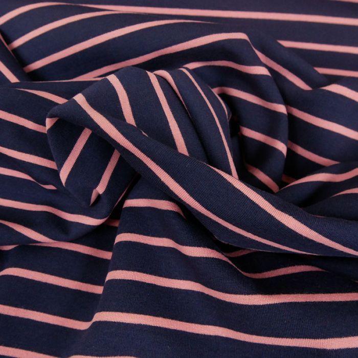 Tissu jersey marinière bleu rose x 10 cm