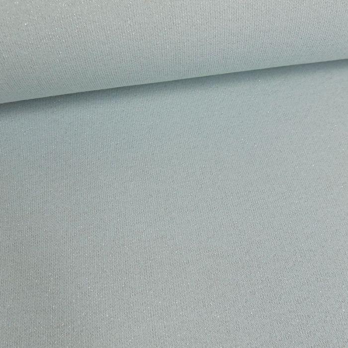 Tissu molleton sweat lurex argent - ciel x 10 cm
