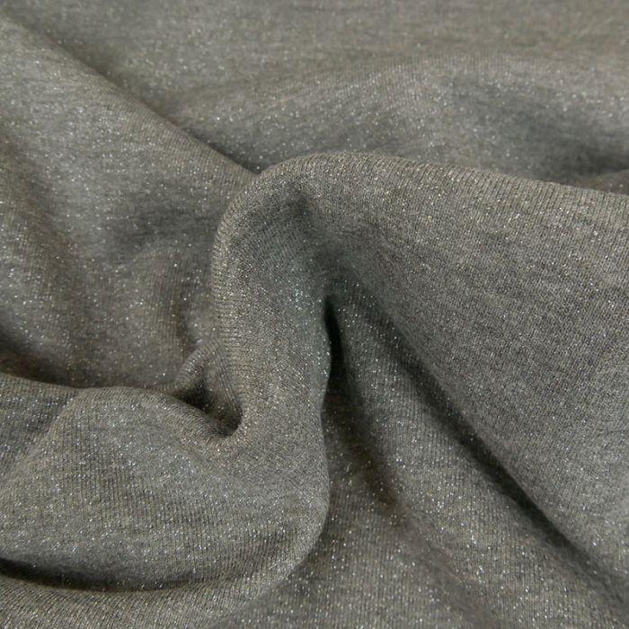 Tissu molleton sweat lurex argent - gris foncé x 10 cm