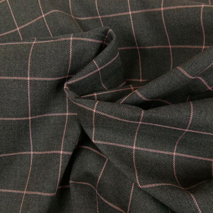 Tissu polyviscose carreaux rose - gris x 10 cm