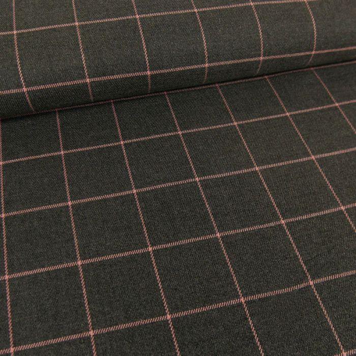 Tissu polyviscose carreaux - gris x 10 cm
