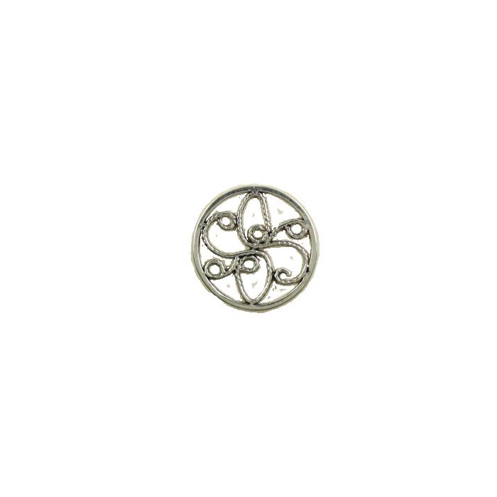 Pendentif rond 15mm argent vieilli