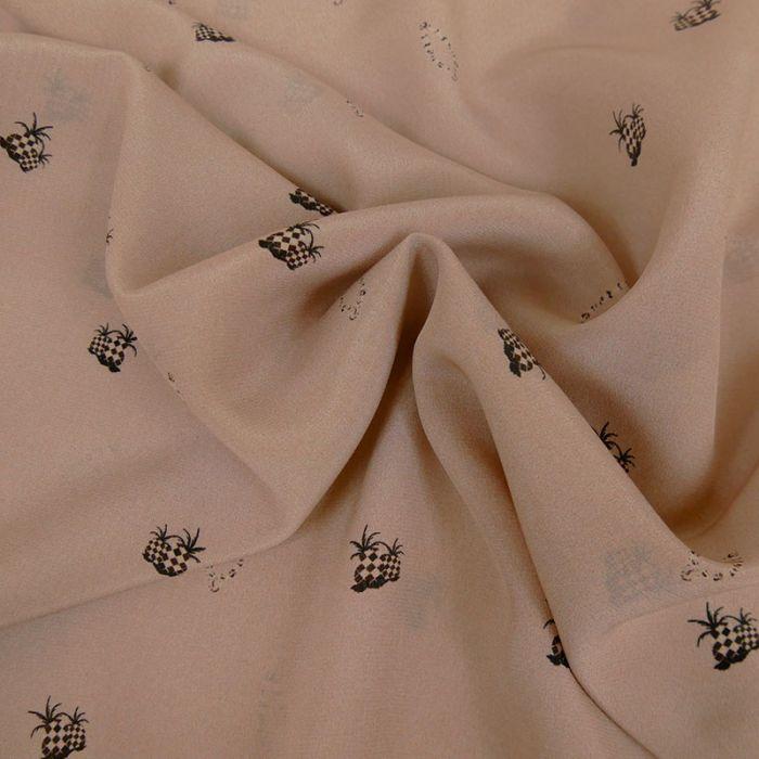 Tissu mousseline soie ananas - vieux rose x 10 cm