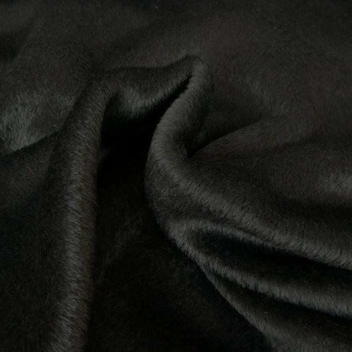 Tissu alpaga et laine uni - noir x 10 cm