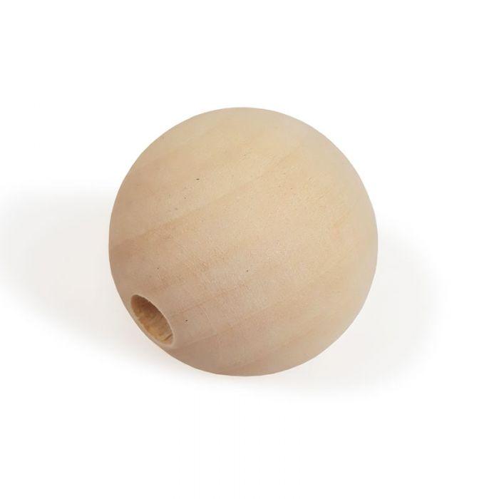Perle en bois naturel - ronde x 1