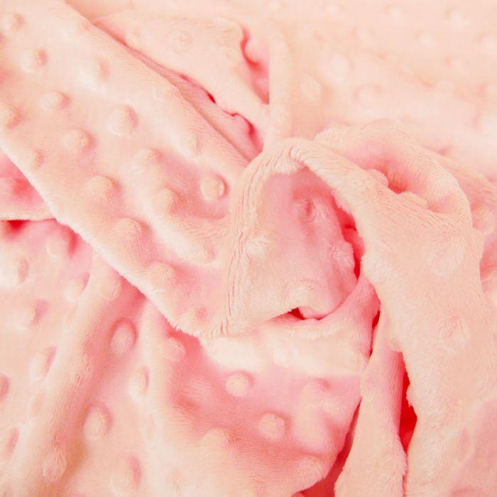 Tissu minky pois oeko-tex - rose x 10 cm