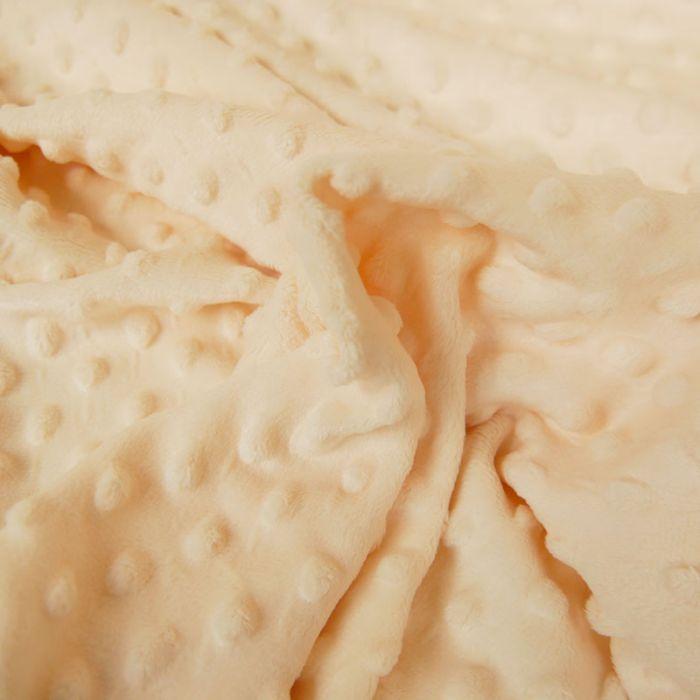 Tissu minky pois oeko-tex - vanille x 10 cm