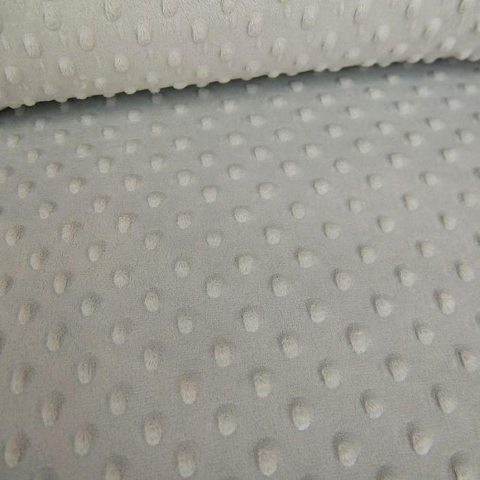 Tissu minky pois oeko-tex - gris x 10 cm