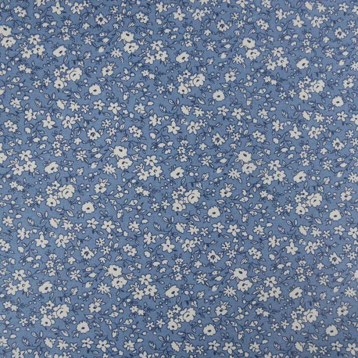 Tissu coton enduit fleurs - bleu x 10 cm