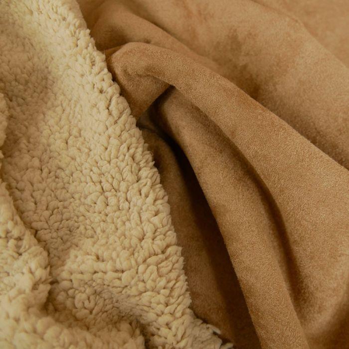 Tissu suédine envers fourrure mouton - cannelle x 10 cm