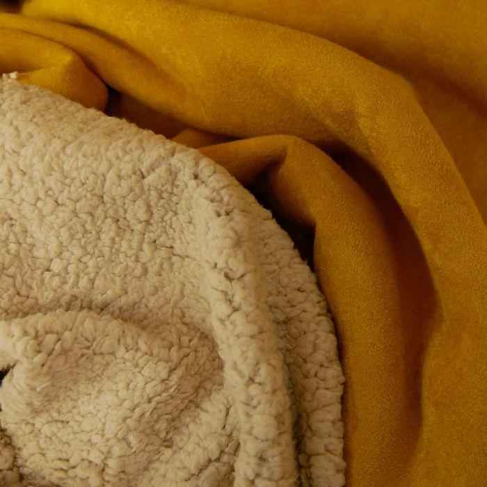 Tissu suédine envers fourrure mouton - moutarde x 10 cm