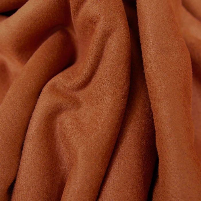 Tissu suédine envers fourrure mouton - rouille x 10 cm