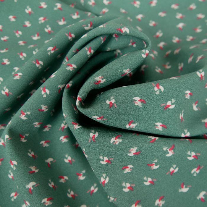 Tissu crêpe polyester stretch marocain - vert x 10 cm