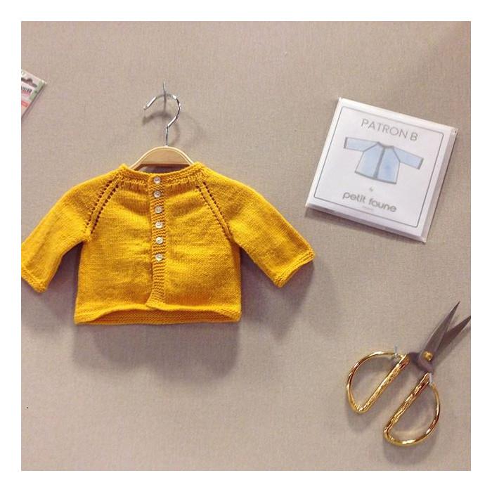 Cardigan raglan B Bis - Patron tricot Petit Faune