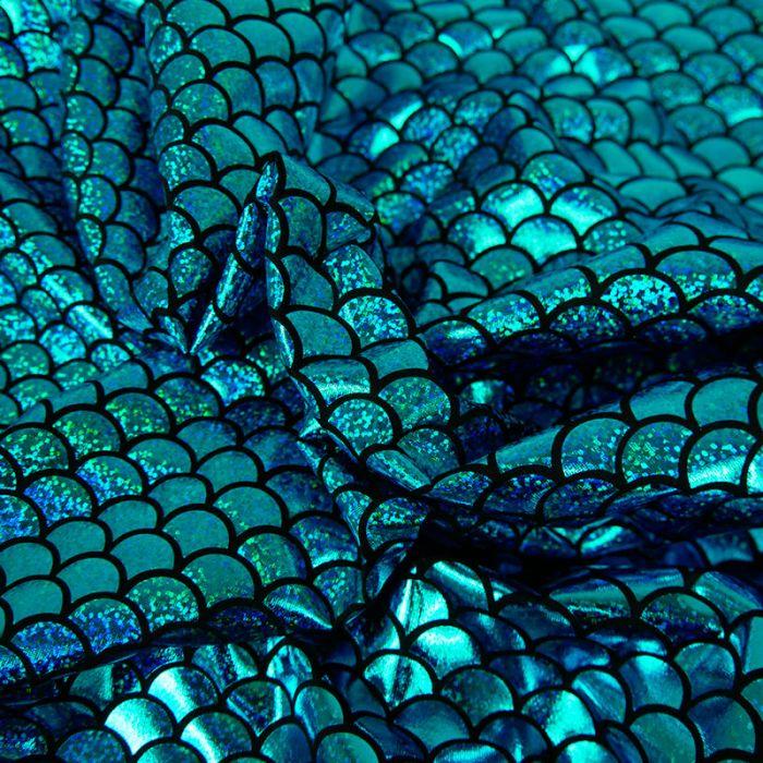 Tissu stretch lamé écailles sirène - turquoise x 10 cm