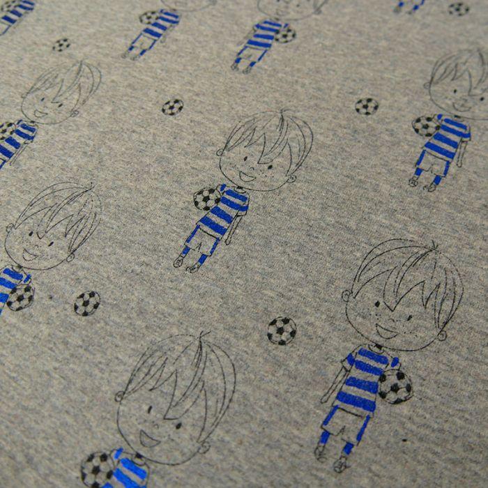Tissu jersey football lurex - gris x 10 cm