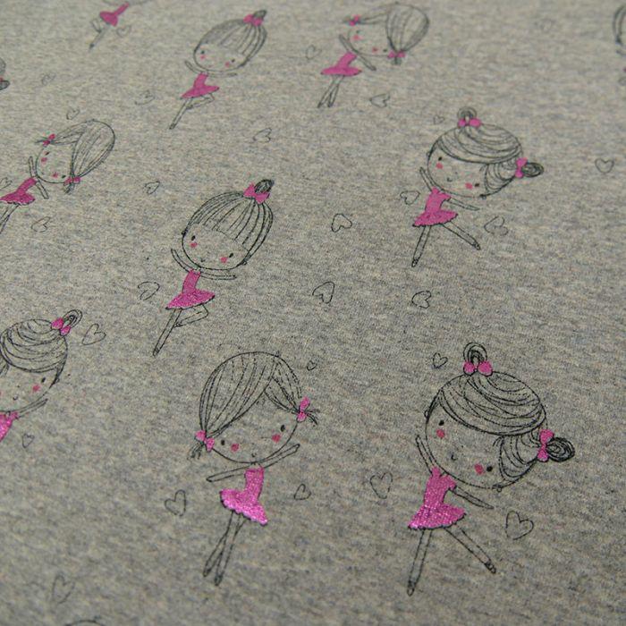 Tissu jersey danseuse lurex - gris x 10 cm