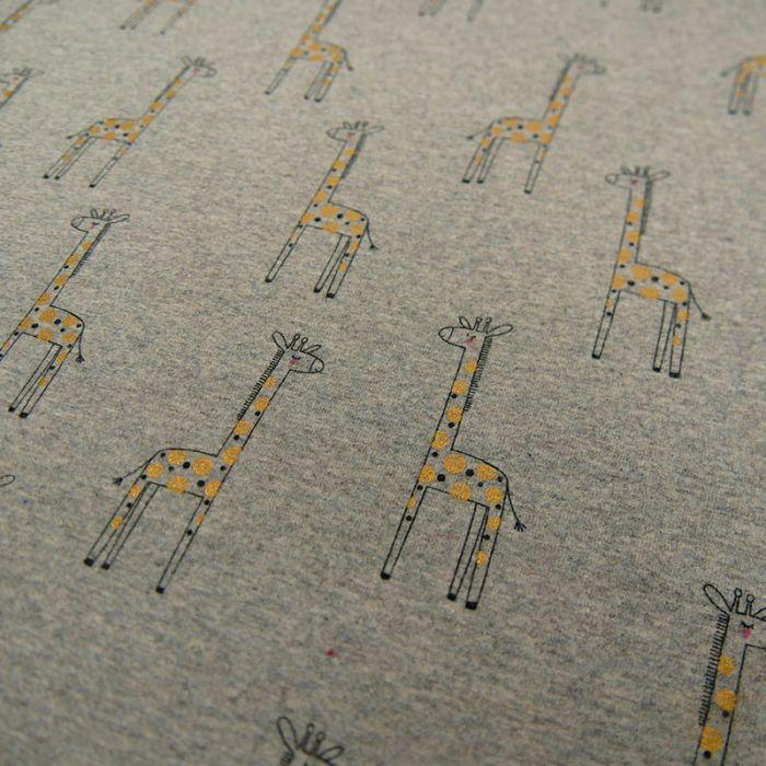 Tissu jersey girafes lurex - gris x 10 cm
