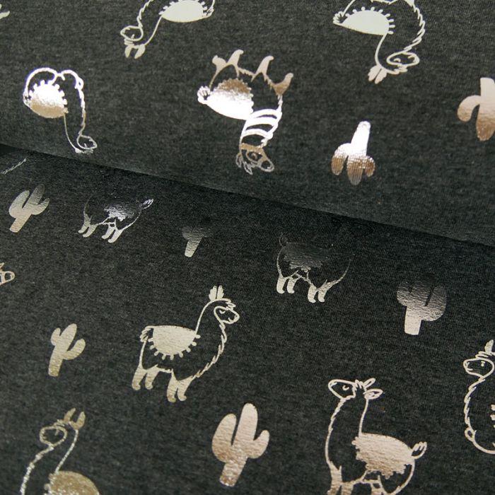 Tissu jersey lamas lurex argent - gris x 10 cm