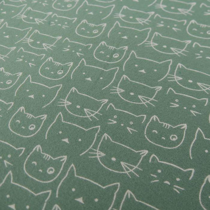 Tissu flanelle de coton chats - vert x 10 cm