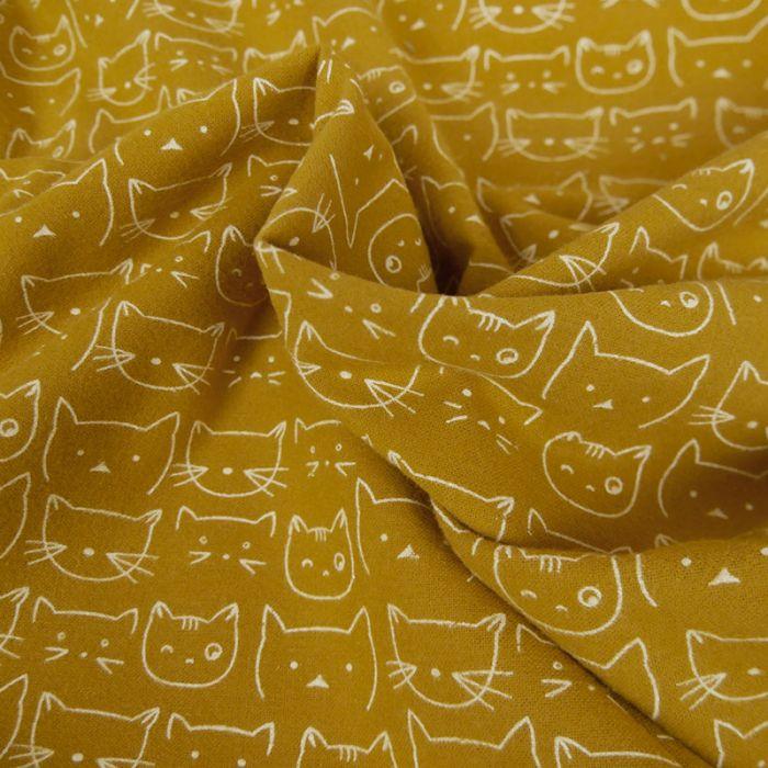 Tissu flanelle de coton chats - moutarde x 10 cm