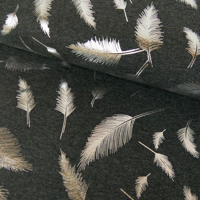 Tissu jersey plumes lurex argent - gris anthracite x 10 cm