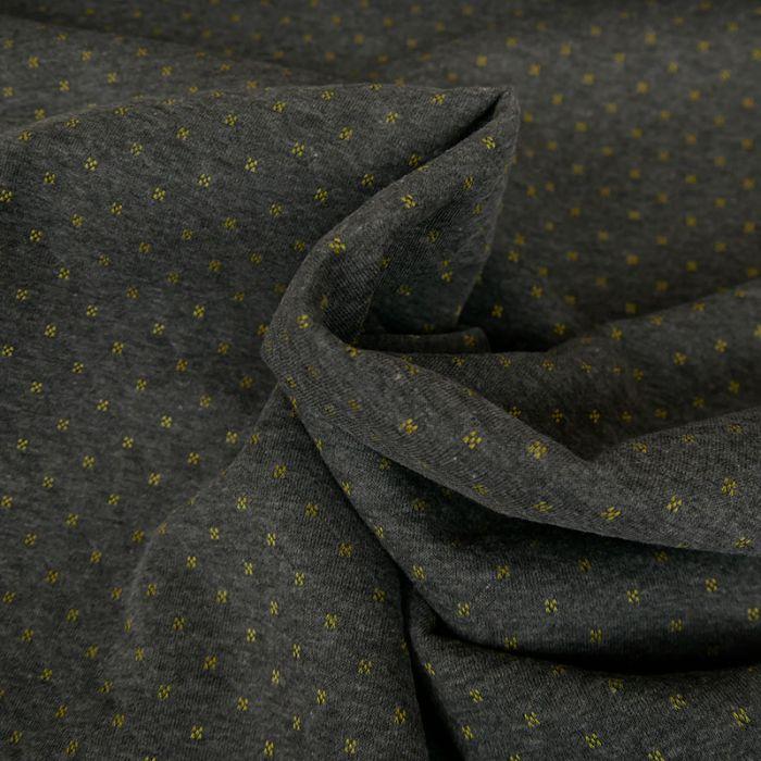 Jersey matelassé réversible gris anthracite/jaune x 10 cm