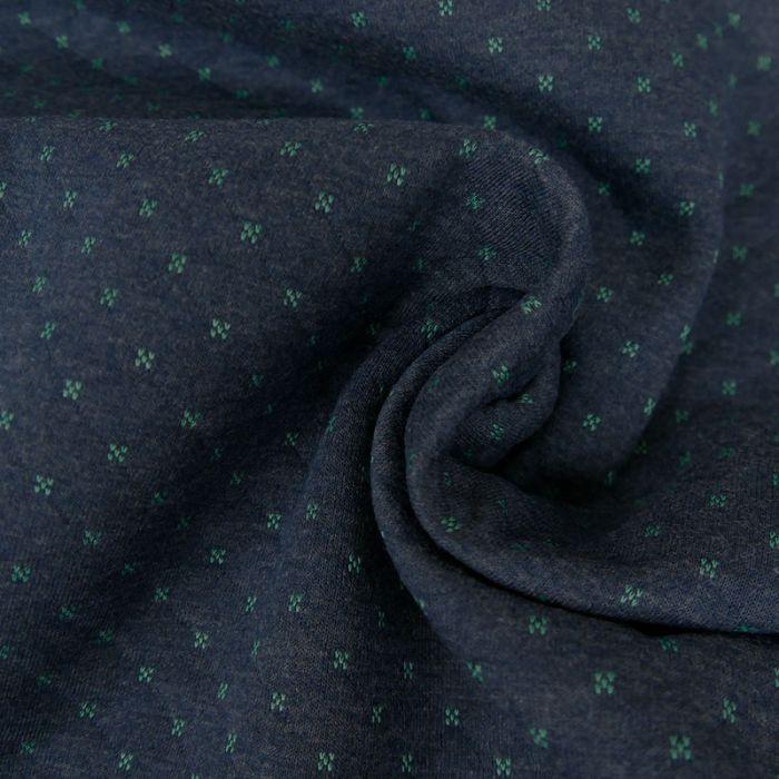 Jersey matelassé réversible bleu/menthe x 10 cm