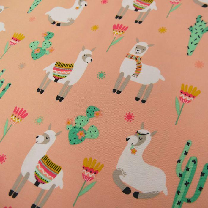 Tissu jersey lamas - rose x 10 cm