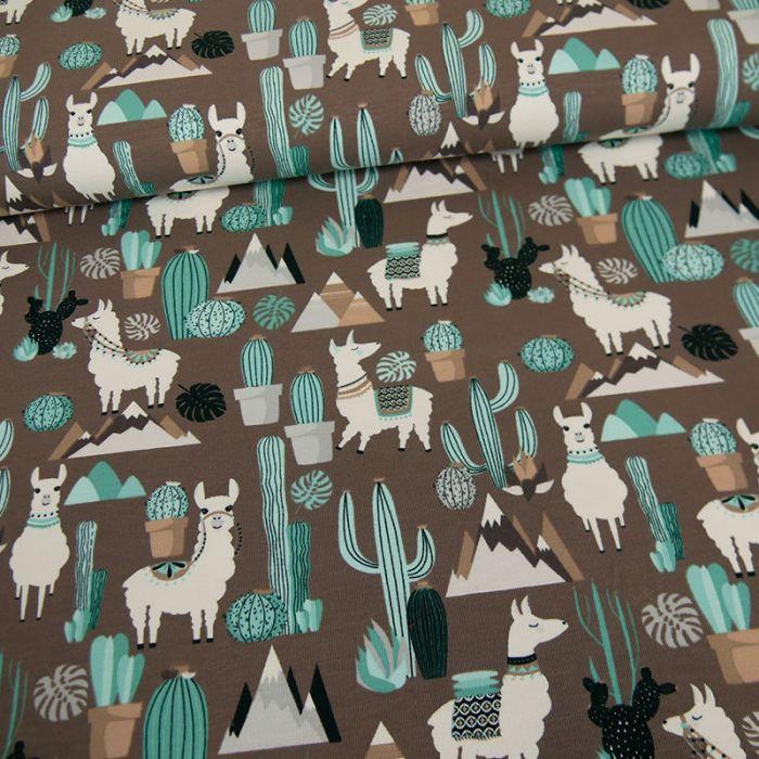 Tissu jersey lamas cactus - gris x 10 cm