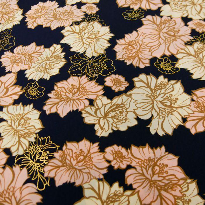 Tissu polyester fleurs lurex - bleu x 10 cm