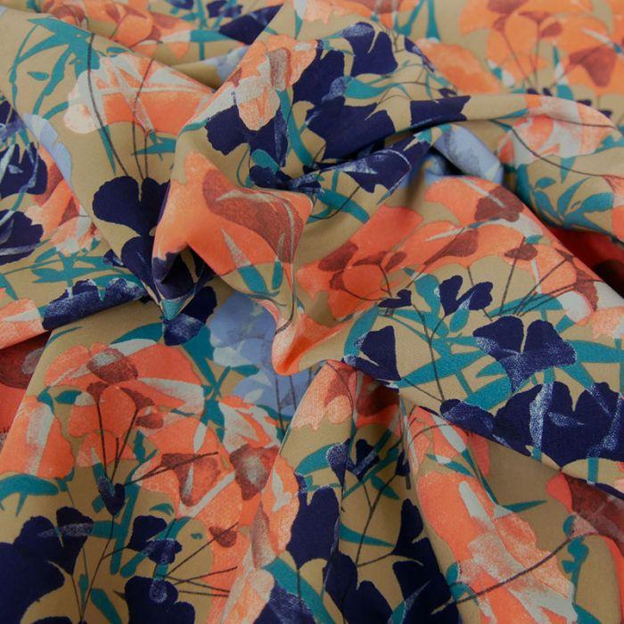 Tissu pearl peach fleurs - rose x 10 cm