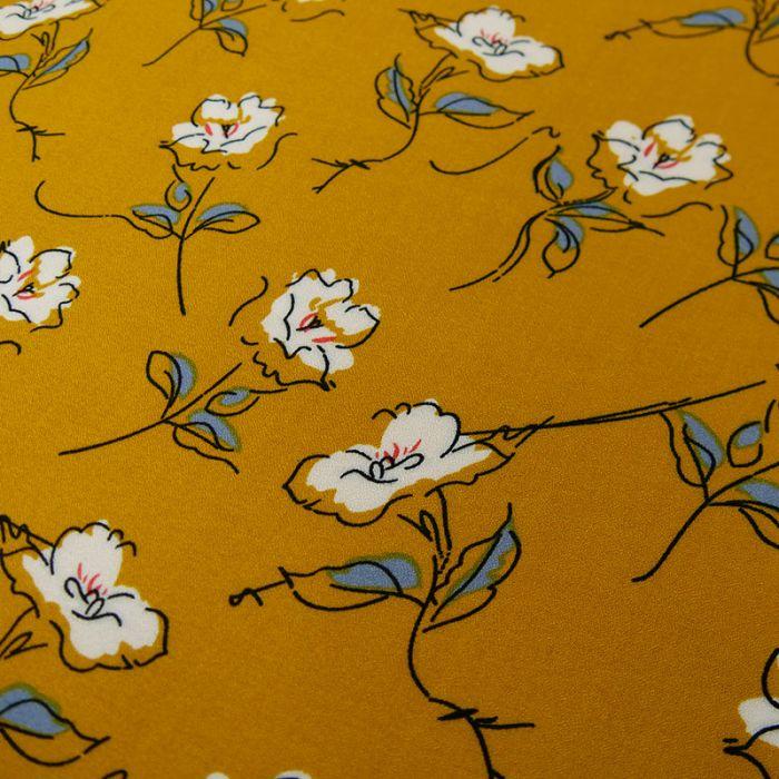 Tissu crêpe viscose fleurs - moutarde x 10 cm