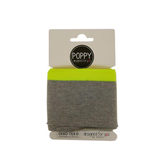 Bord-côte Oeko-tex rayé gris fluo - Poppy