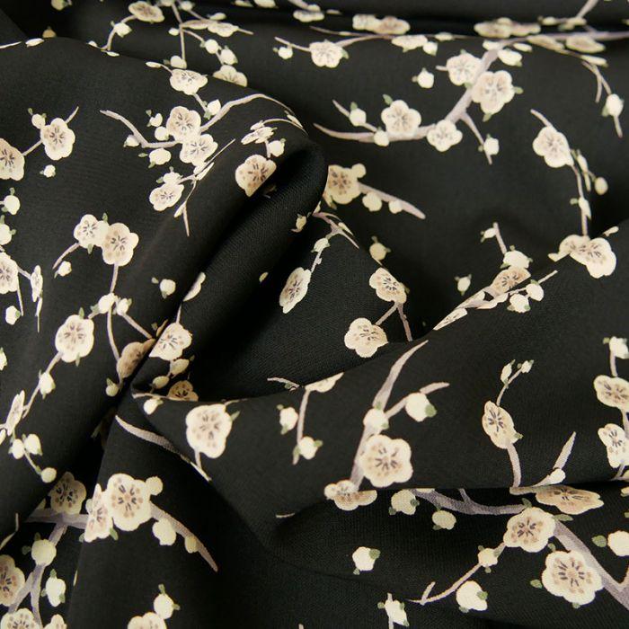 Tissu polyester fleurs japonaises - noir x 10 cm