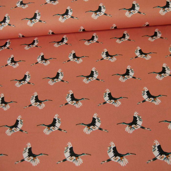 Tissu satin grues - saumon x 10 cm