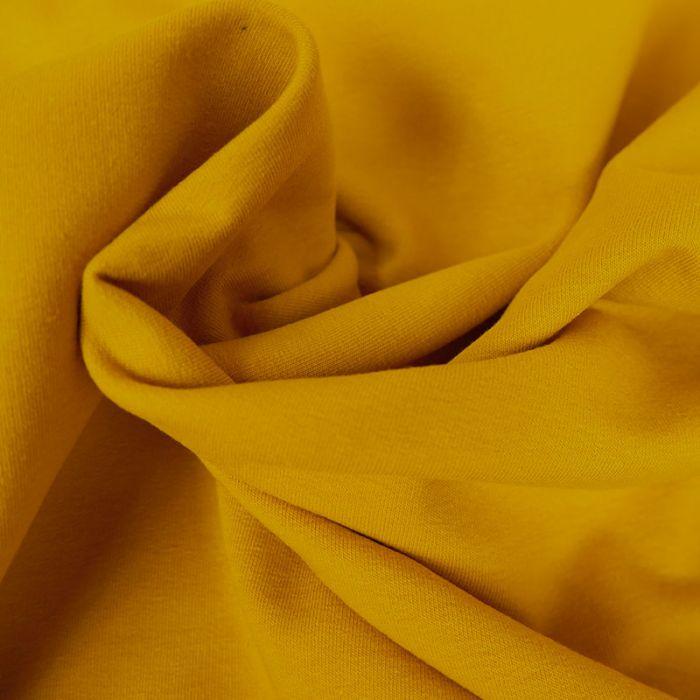 Tissu jersey sweat léger uni - moutarde  x 10 cm