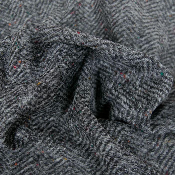 Tissu lainage chevrons - gris x 10 cm