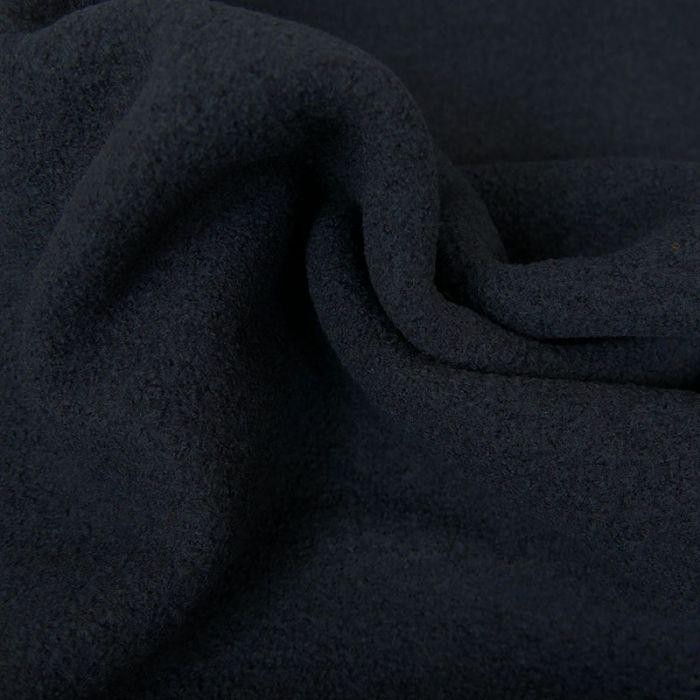 Tissu laine bouillie - bleu marine x 10 cm