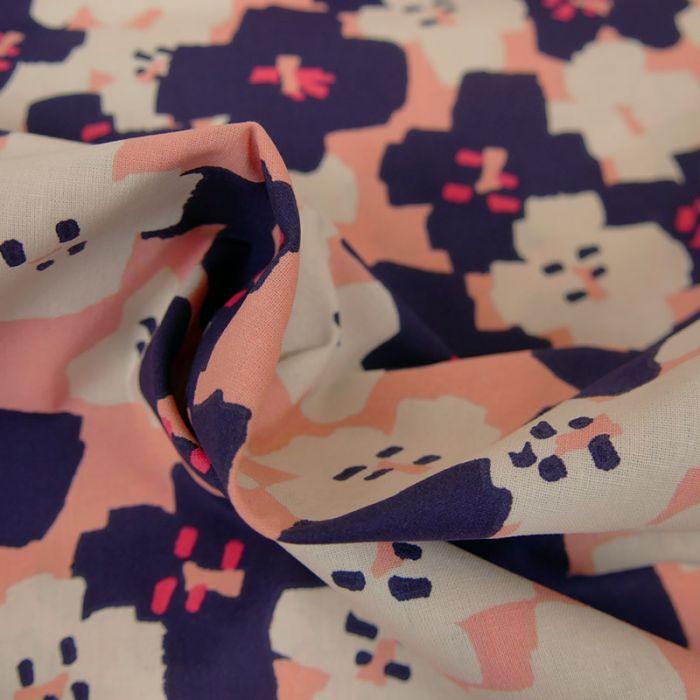 Tissu coton Okina Hana fleurs noir - rose x 10 cm