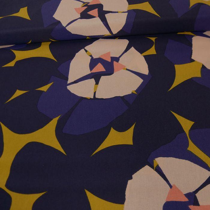 Tissu coton Okina Hana fleurs moutarde - bleu x 10 cm