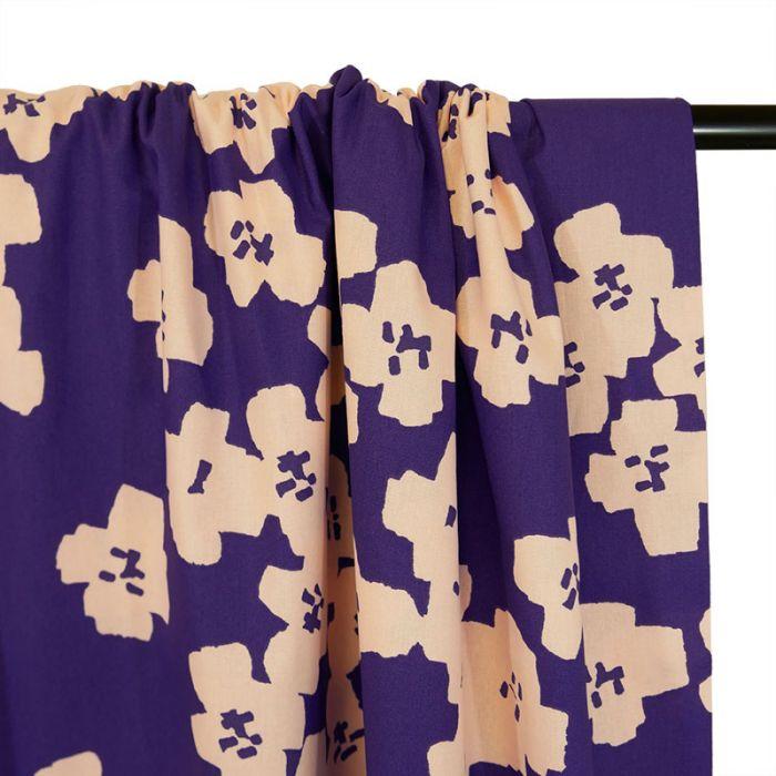 Tissu coton Okina Hana fleurs rose - bleu x 10 cm