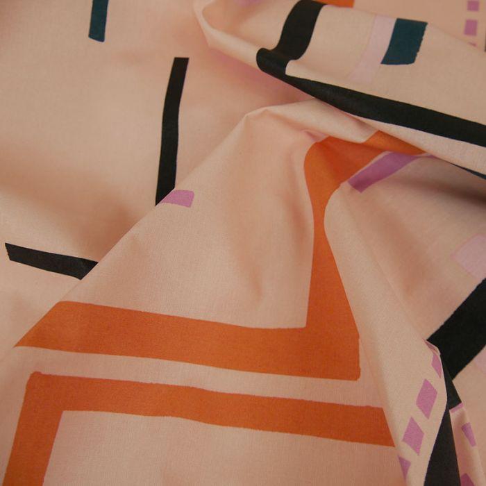 Tissu coton enduit Okina Hana graphique - Rico design x 10 cm